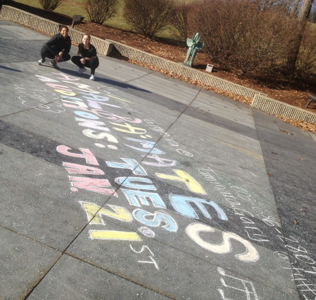 Chalking for spring auditions 2014